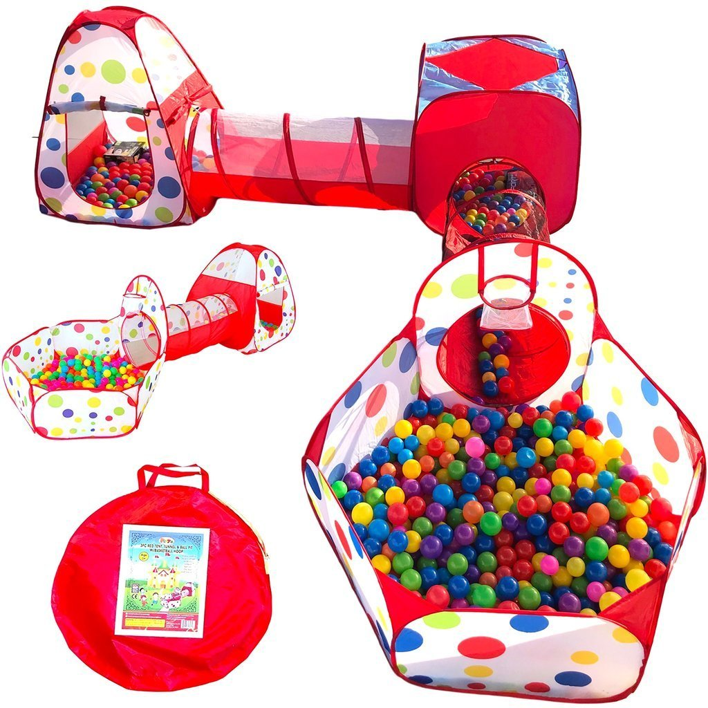 Playz 3pc Kids Play Tent Crawl Tunnel and Ball Pit Pop Up Playhouse Tent with Basketball Hoop for Girls